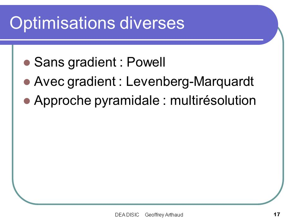 Optimisations diverses