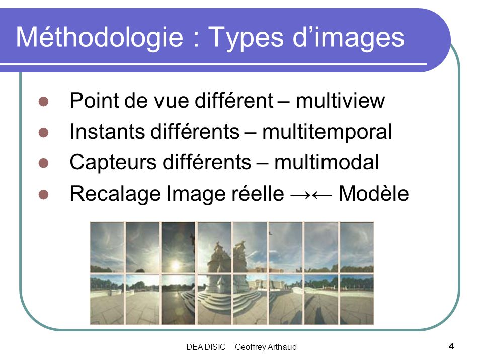 Méthodologie : Types d'images