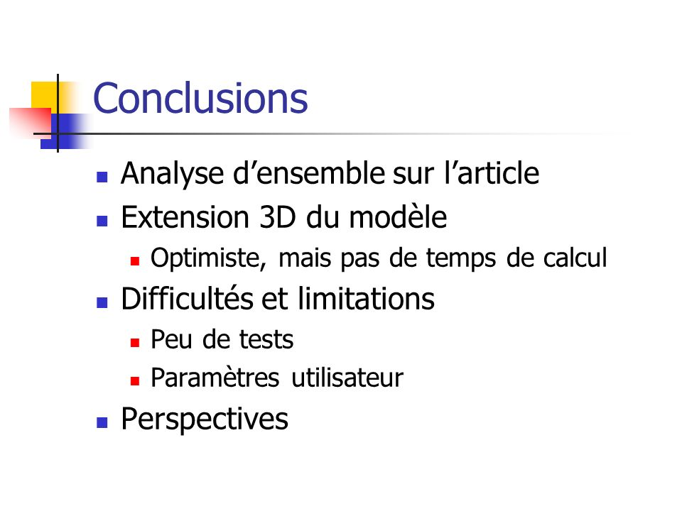Conclusions Analyse d'ensemble sur l'article Extension 3D du modèle