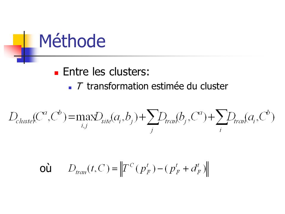 Méthode Entre les clusters: T transformation estimée du cluster où