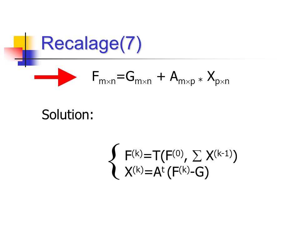  Recalage(7) Fmn=Gmn + Amp * Xpn Solution: F(k)=T(F(0),  X(k-1))