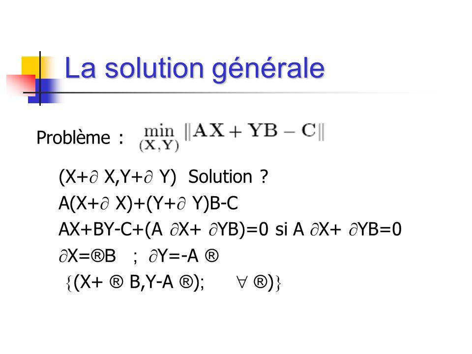 La solution générale Problème : (X+ X,Y+ Y) Solution