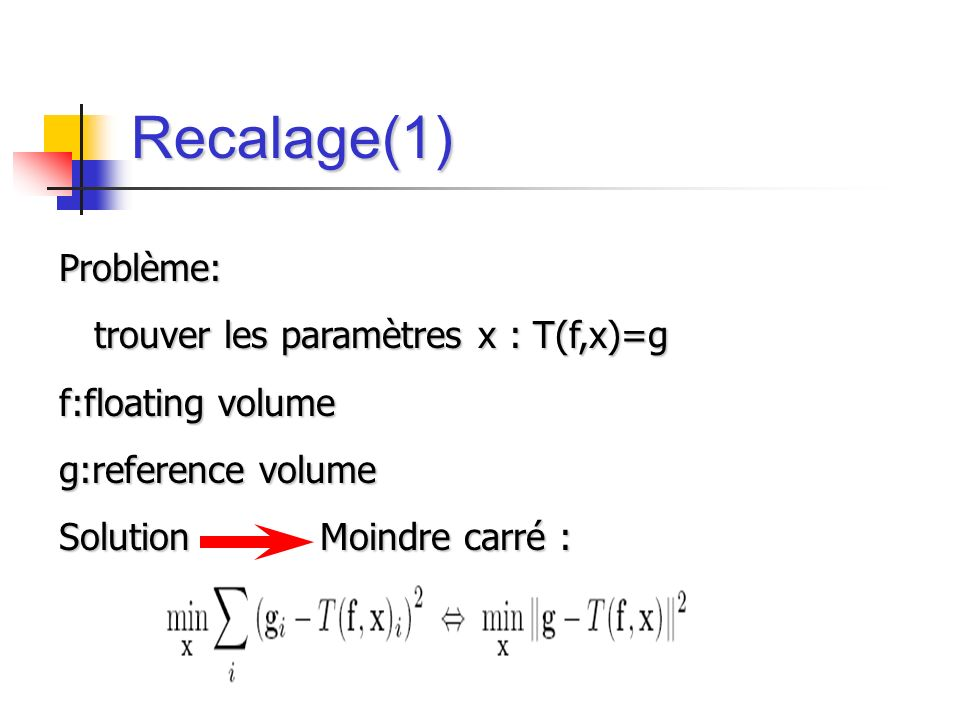 Recalage(1) Problème: trouver les paramètres x : T(f,x)=g