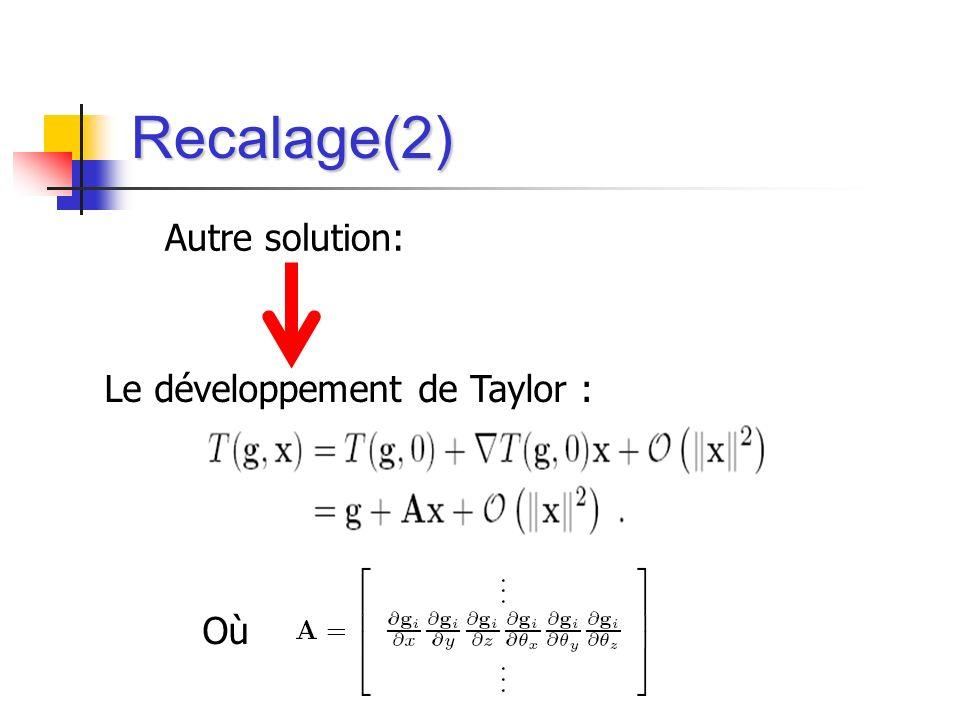 Recalage(2) Autre solution: Le développement de Taylor : Où