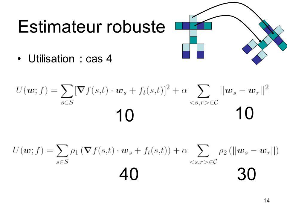 Estimateur robuste 10 10 40 30 Utilisation : cas 4