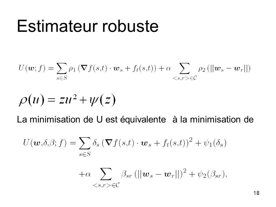 Estimateur robuste La minimisation de U est équivalente à la minimisation de