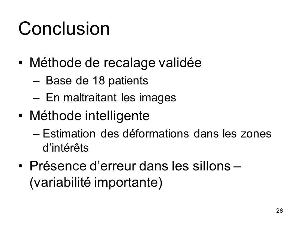 Conclusion Méthode de recalage validée Méthode intelligente