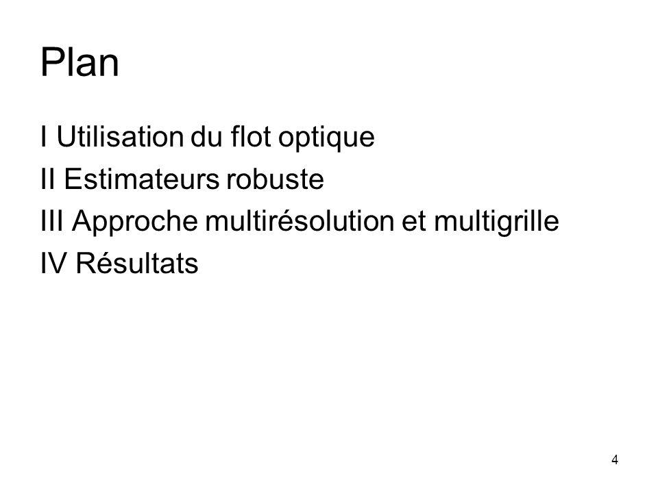 Plan I Utilisation du flot optique II Estimateurs robuste