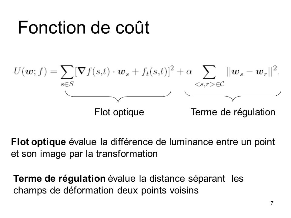 Fonction de coût Flot optique Terme de régulation