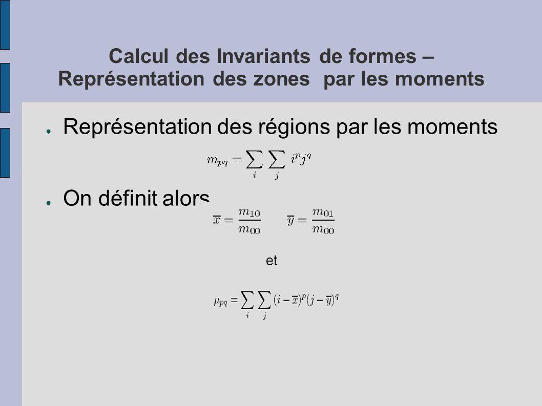 Représentation des régions par les moments