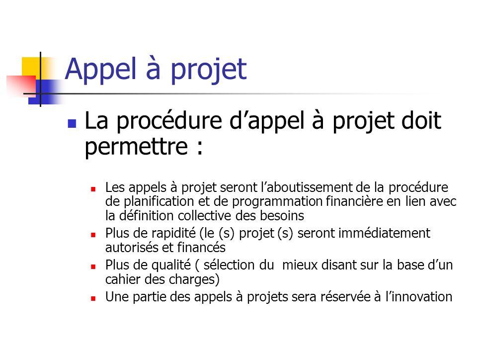 Appel à projet La procédure d'appel à projet doit permettre :