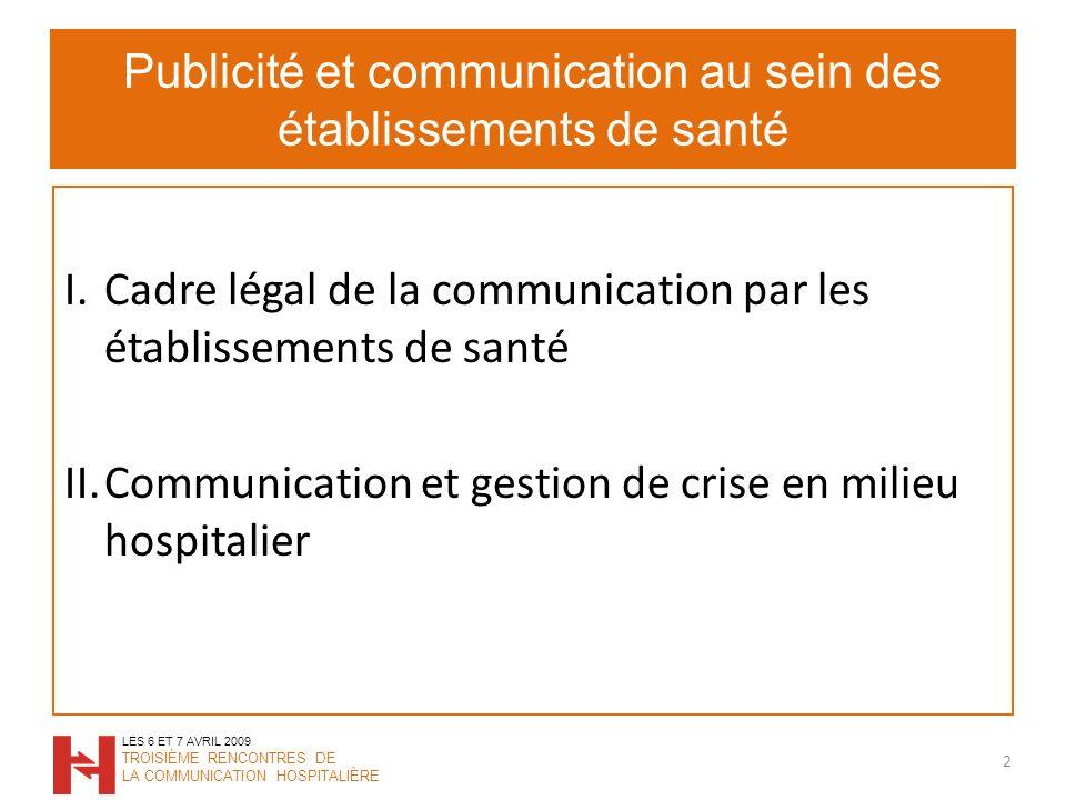 Publicité et communication au sein des établissements de santé