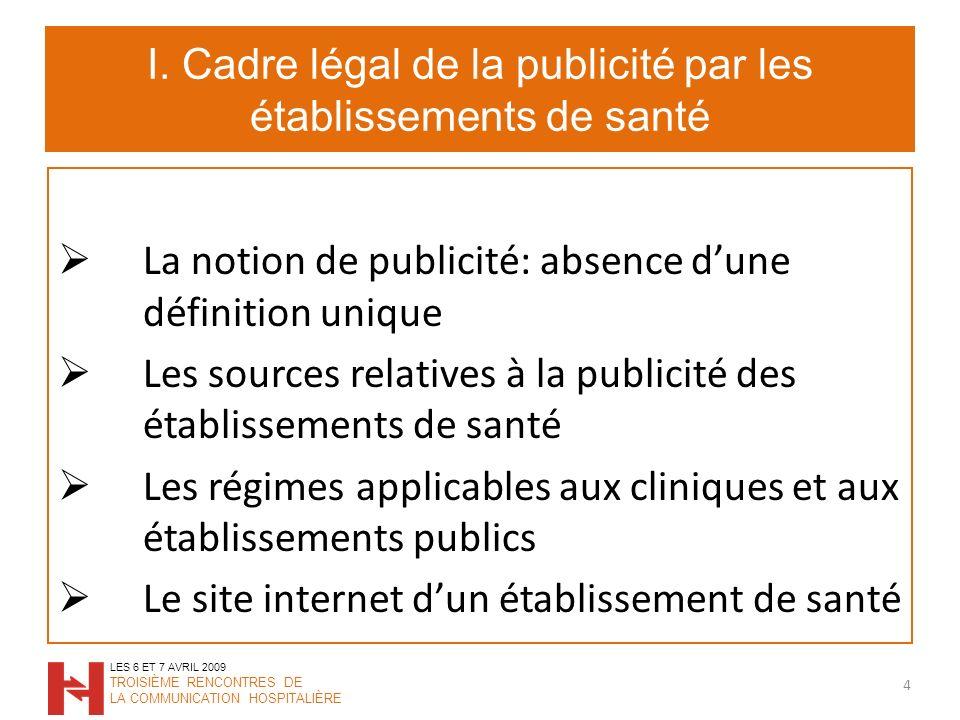 I. Cadre légal de la publicité par les établissements de santé
