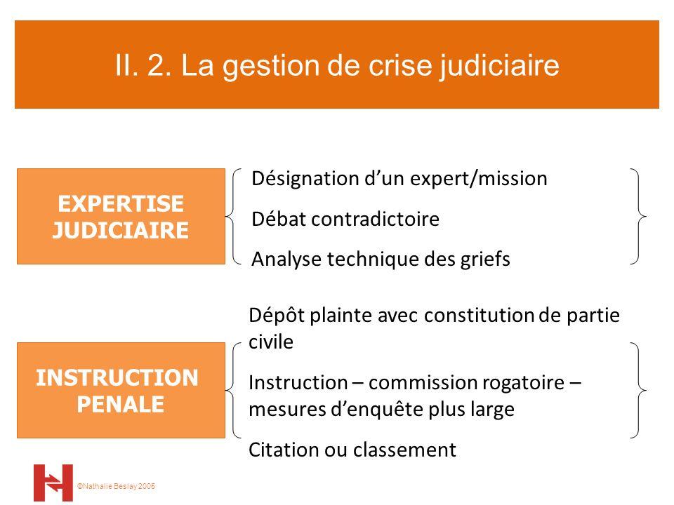 II. 2. La gestion de crise judiciaire