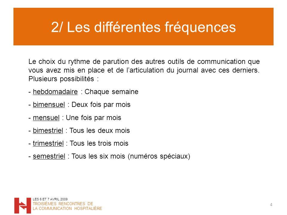 2/ Les différentes fréquences