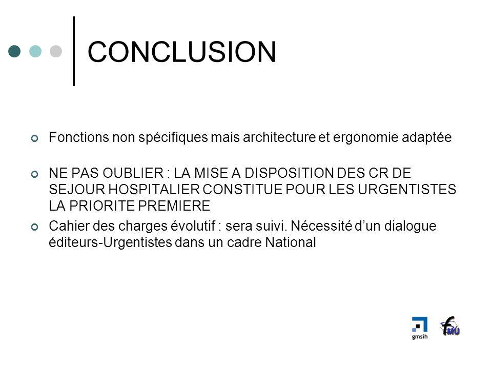 CONCLUSIONFonctions non spécifiques mais architecture et ergonomie adaptée.