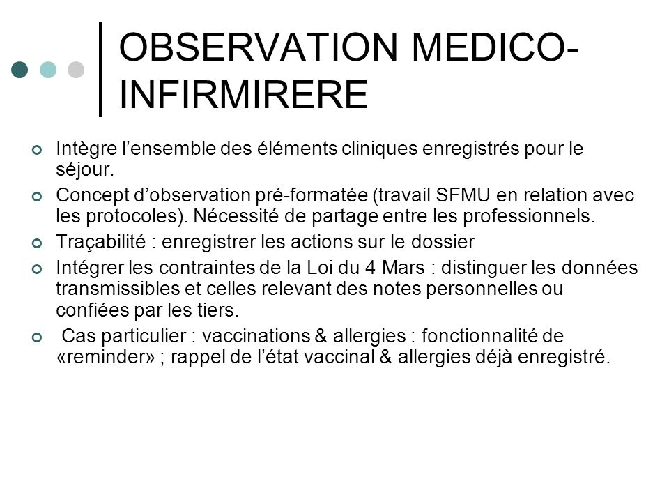 OBSERVATION MEDICO-INFIRMIRERE