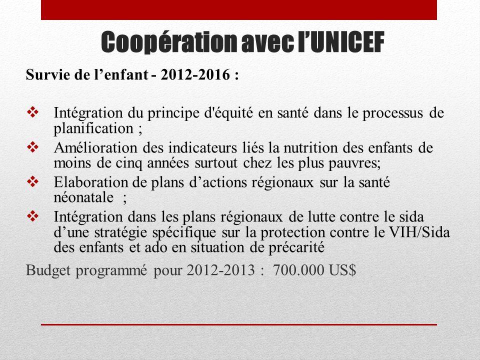 Coopération avec l'UNICEF