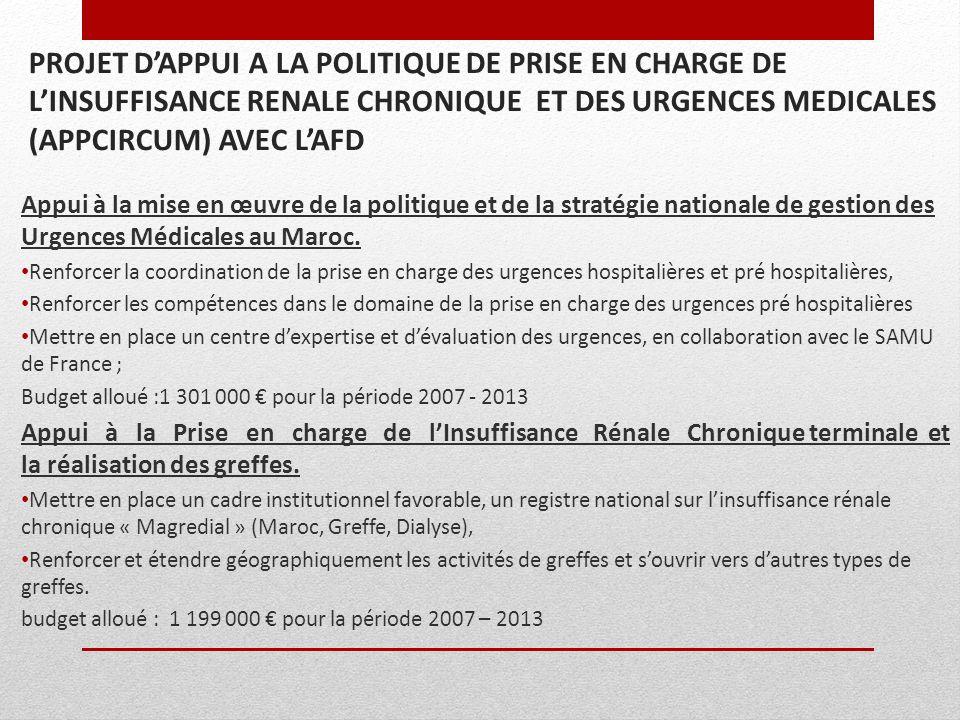26/03/2017 PROJET D'APPUI A LA POLITIQUE DE PRISE EN CHARGE DE L'INSUFFISANCE RENALE CHRONIQUE ET DES URGENCES MEDICALES (APPCIRCUM) AVEC L'AFD.