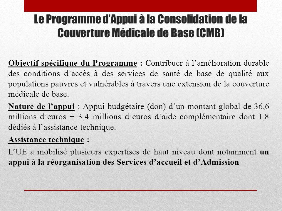 26/03/2017 Le Programme d'Appui à la Consolidation de la Couverture Médicale de Base (CMB)