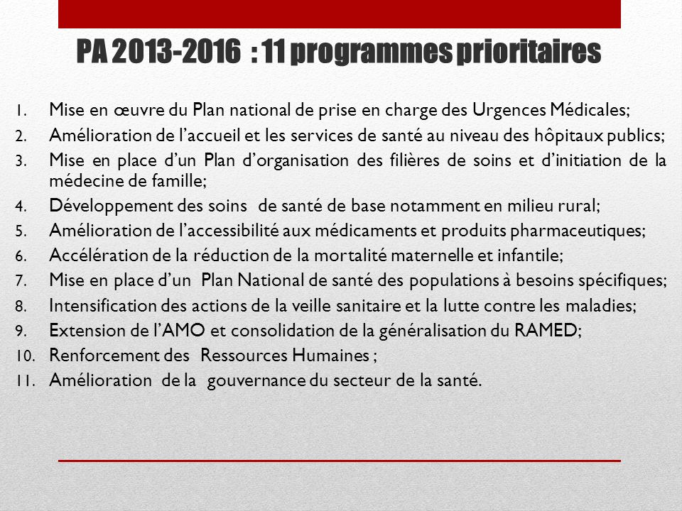 PA 2013-2016 : 11 programmes prioritaires