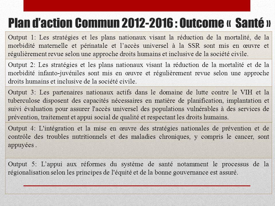 Plan d'action Commun 2012-2016 : Outcome « Santé »