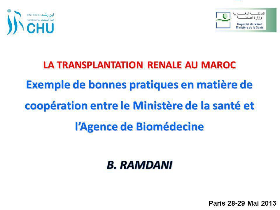 LA TRANSPLANTATION RENALE AU MAROC Exemple de bonnes pratiques en matière de coopération entre le Ministère de la santé et l'Agence de Biomédecine