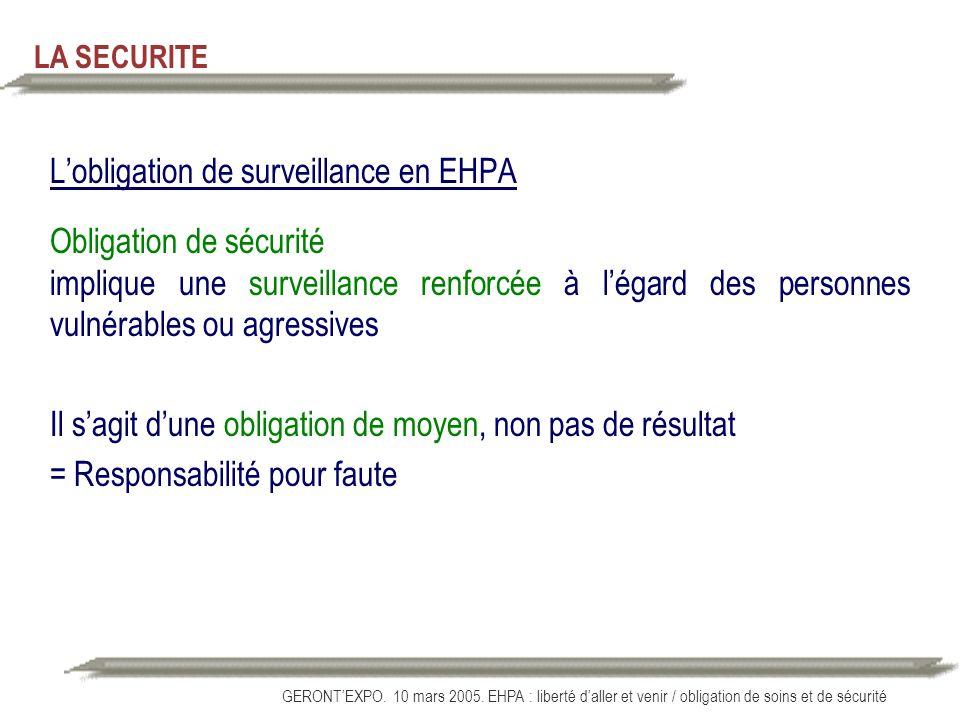 L'obligation de surveillance en EHPA Obligation de sécurité