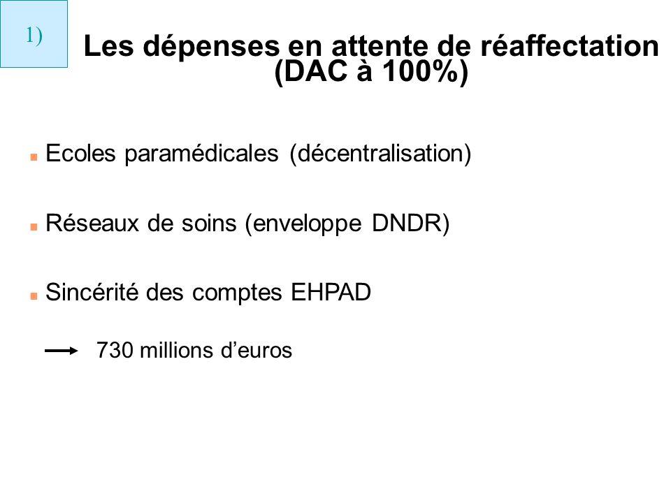Les dépenses en attente de réaffectation (DAC à 100%)