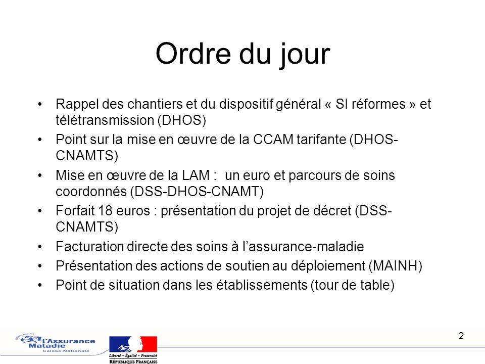 Ordre du jour Rappel des chantiers et du dispositif général « SI réformes » et télétransmission (DHOS)