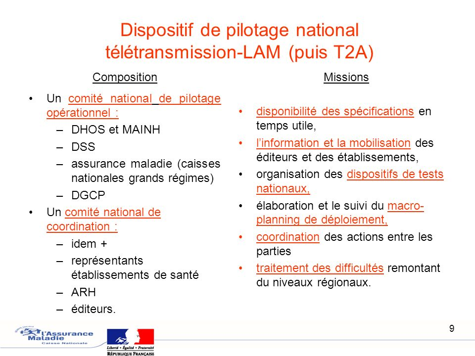 Dispositif de pilotage national télétransmission-LAM (puis T2A)