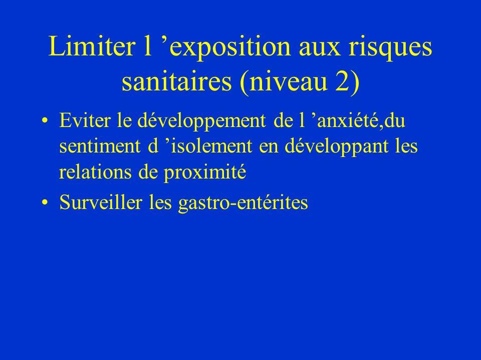 Limiter l 'exposition aux risques sanitaires (niveau 2)