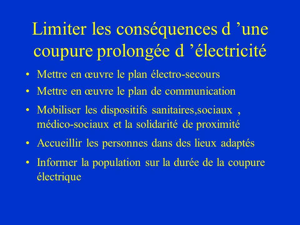 Limiter les conséquences d 'une coupure prolongée d 'électricité