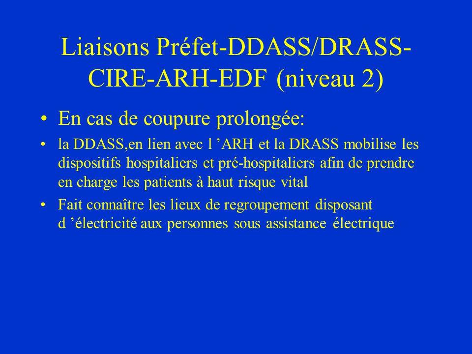 Liaisons Préfet-DDASS/DRASS-CIRE-ARH-EDF (niveau 2)