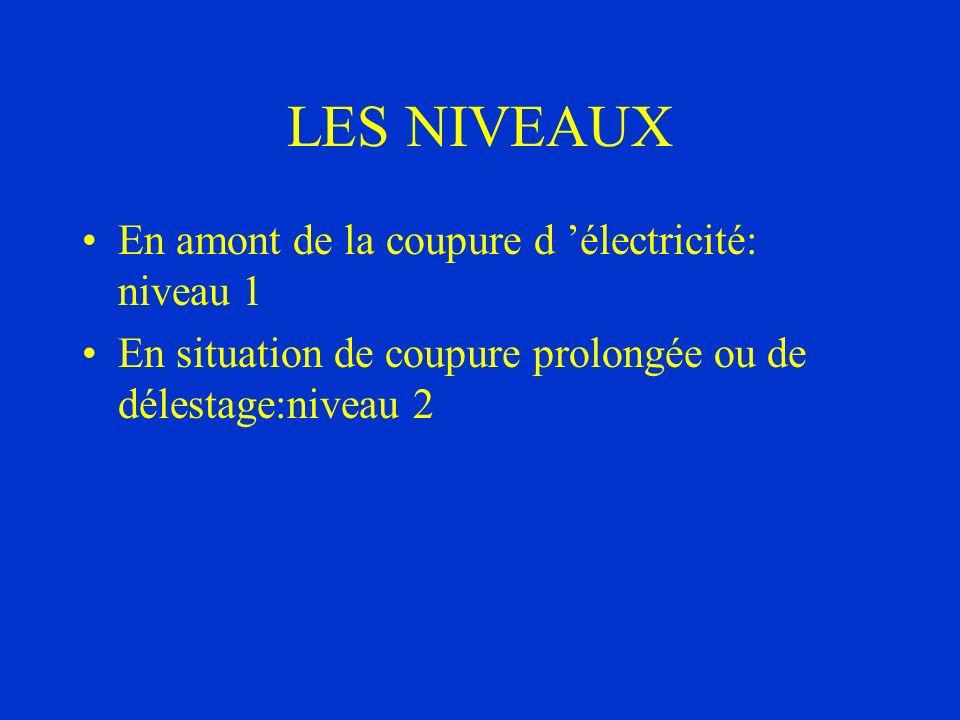 LES NIVEAUX En amont de la coupure d 'électricité: niveau 1
