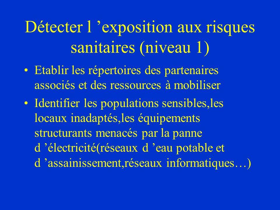 Détecter l 'exposition aux risques sanitaires (niveau 1)