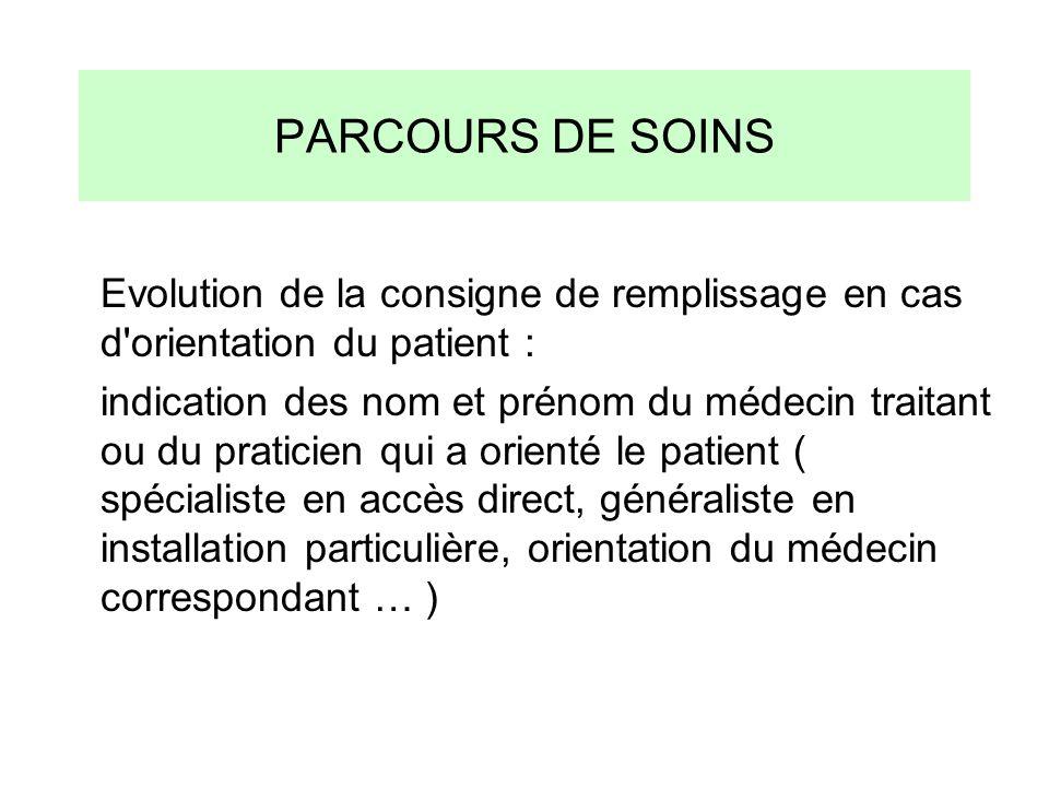 PARCOURS DE SOINS Evolution de la consigne de remplissage en cas d orientation du patient :
