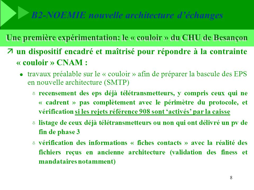 Une première expérimentation: le « couloir » du CHU de Besançon