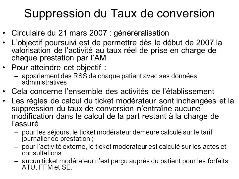 Suppression du Taux de conversion