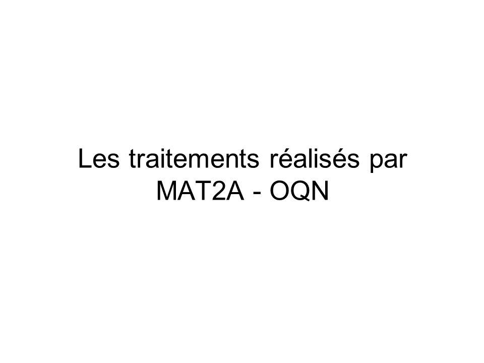 Les traitements réalisés par MAT2A - OQN