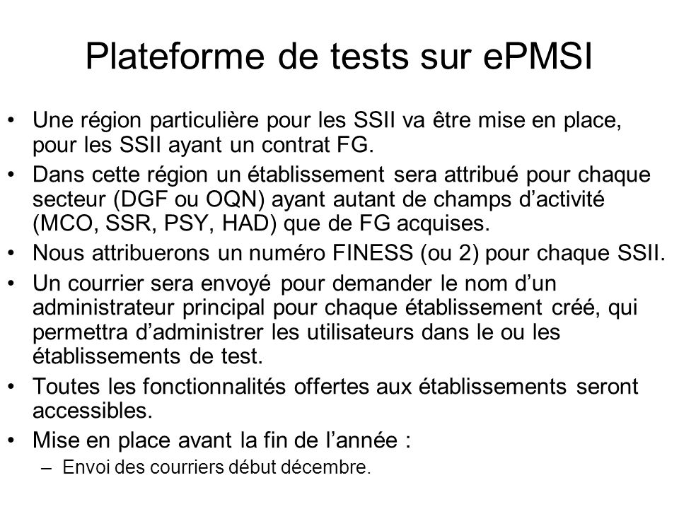 Plateforme de tests sur ePMSI