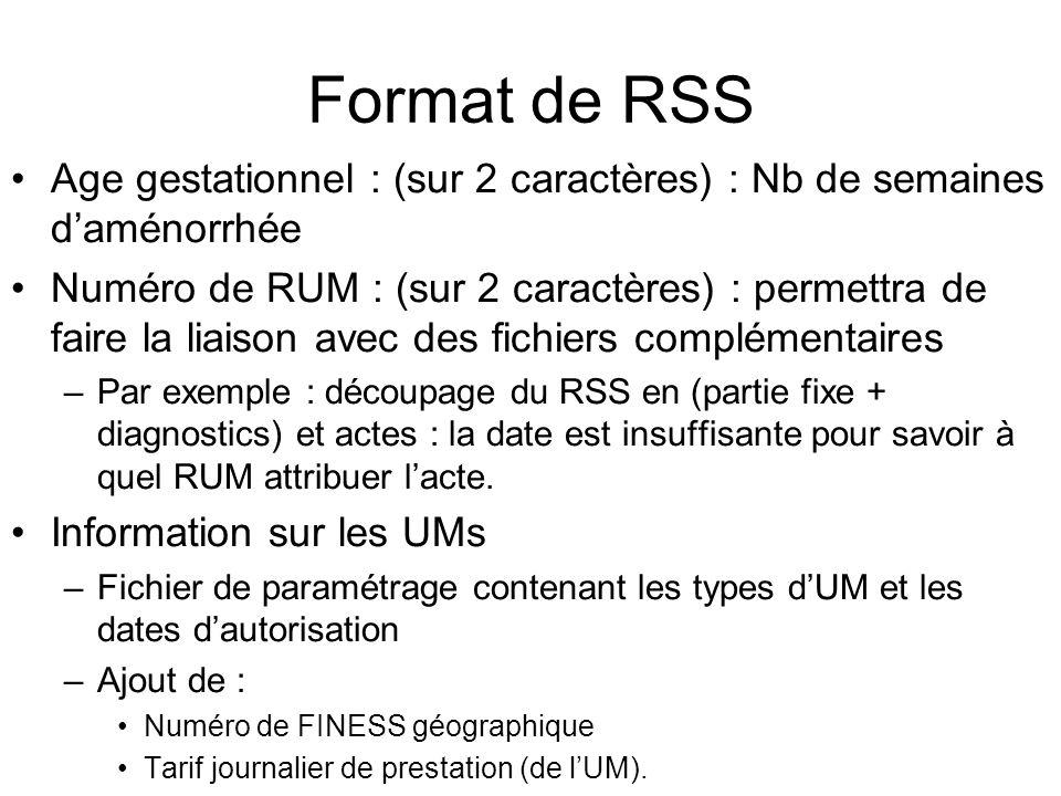 Format de RSS Age gestationnel : (sur 2 caractères) : Nb de semaines d'aménorrhée.