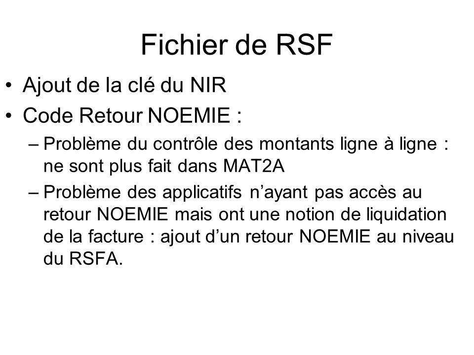 Fichier de RSF Ajout de la clé du NIR Code Retour NOEMIE :