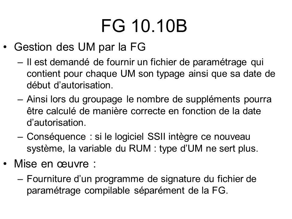 FG 10.10B Gestion des UM par la FG Mise en œuvre :