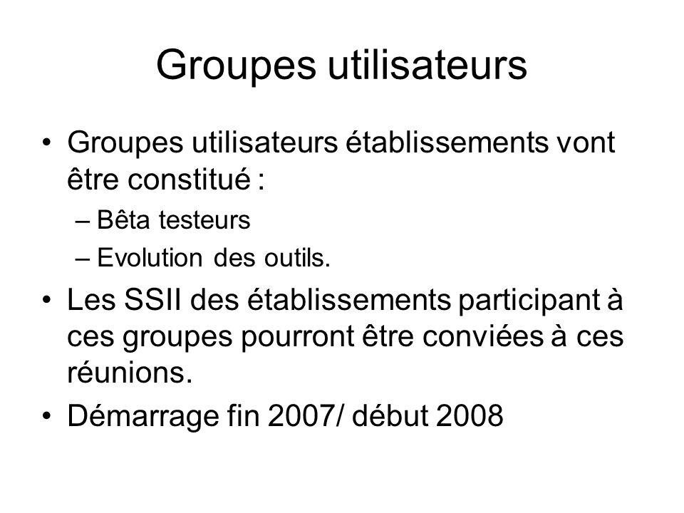 Groupes utilisateurs Groupes utilisateurs établissements vont être constitué : Bêta testeurs. Evolution des outils.