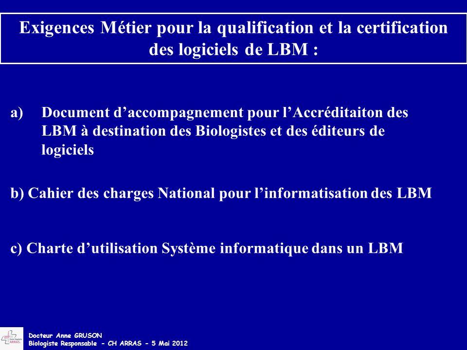 Exigences Métier pour la qualification et la certification