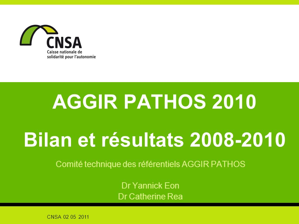AGGIR PATHOS 2010 Bilan et résultats 2008-2010