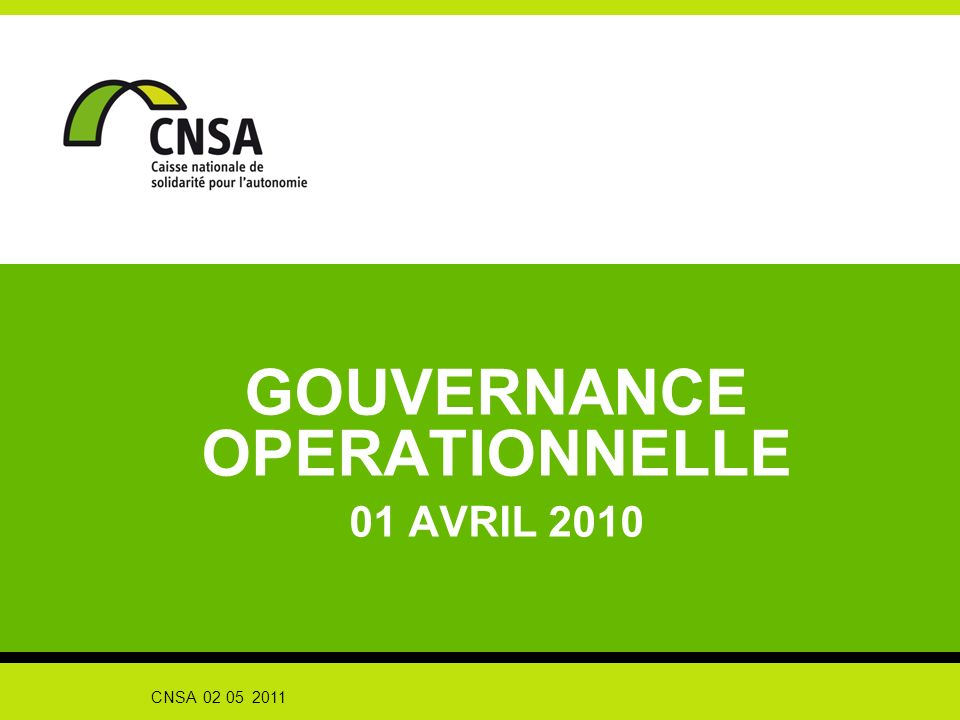 GOUVERNANCE OPERATIONNELLE 01 AVRIL 2010