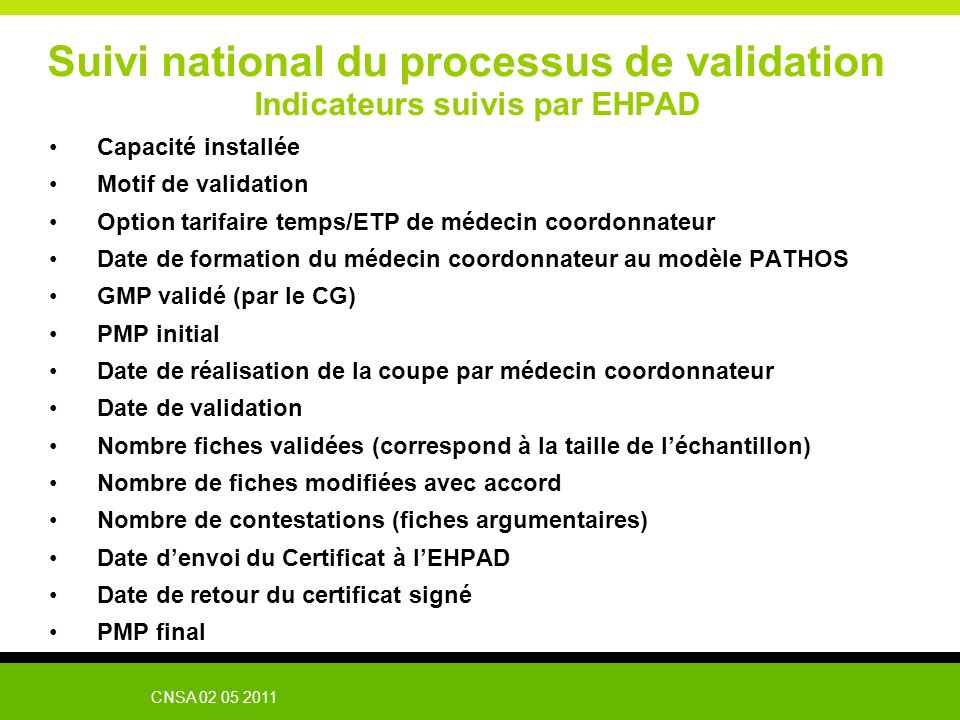Suivi national du processus de validation