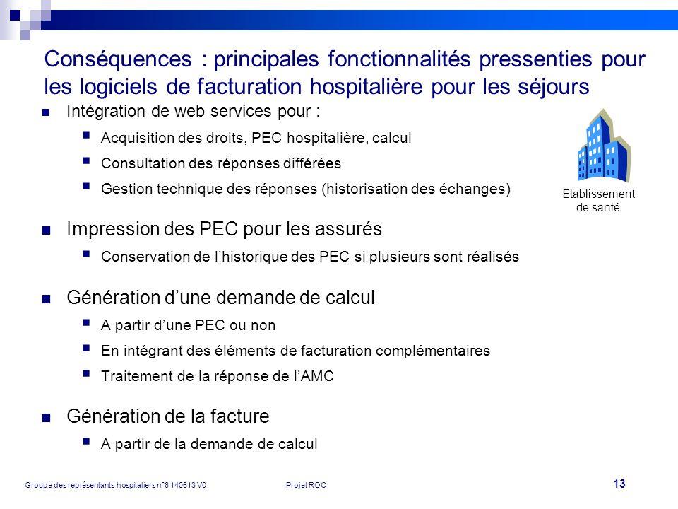Conséquences : principales fonctionnalités pressenties pour les logiciels de facturation hospitalière pour les séjours